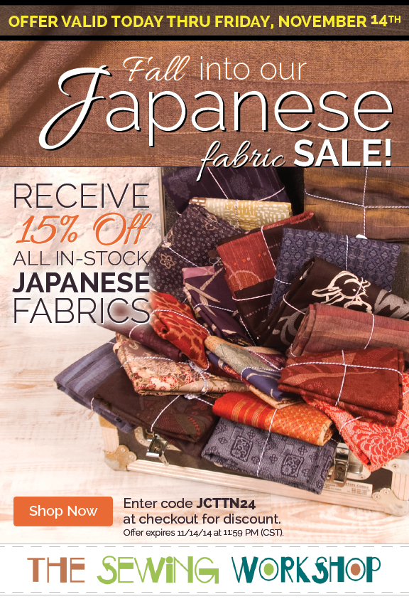 Receive 15% OFF all Japanese Fabrics