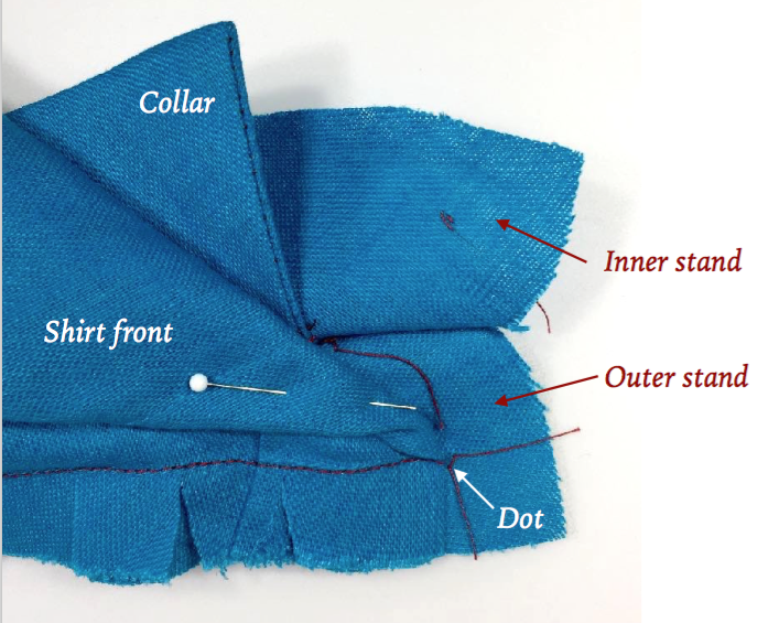 fold and pin the center front of the garment into the stand area below collar