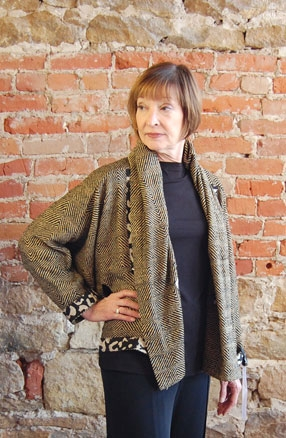 Equinox jacket sewing pattern made in raw silk with an animal print binding