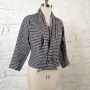 eJacket digital sewing pattern made in gingham check textured linen fabric