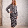 Linen eJacket worn with a plaid Eureka Skirt